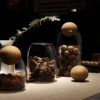 bocal en verre avec bouchon en liège pour décoration cuisine