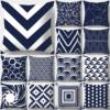 housse de coussin géométrique bleu moderne